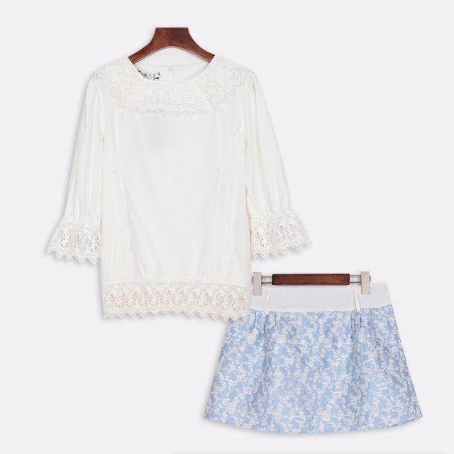 全新 氣質蕾絲拼接上衣+褲裙(轉賣)