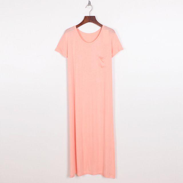全新 莫代爾纯棉短袖粉紅色女洋裝連衣裙(轉賣)