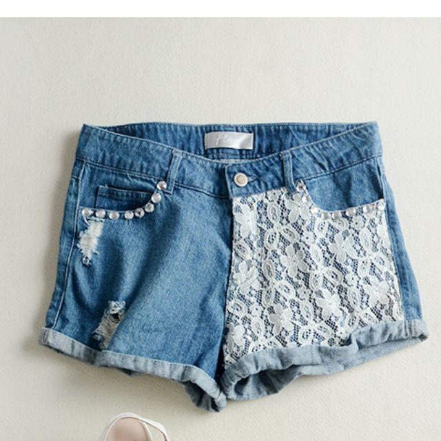 全新 氣質百搭蕾絲藍色牛仔熱褲短褲(轉賣)