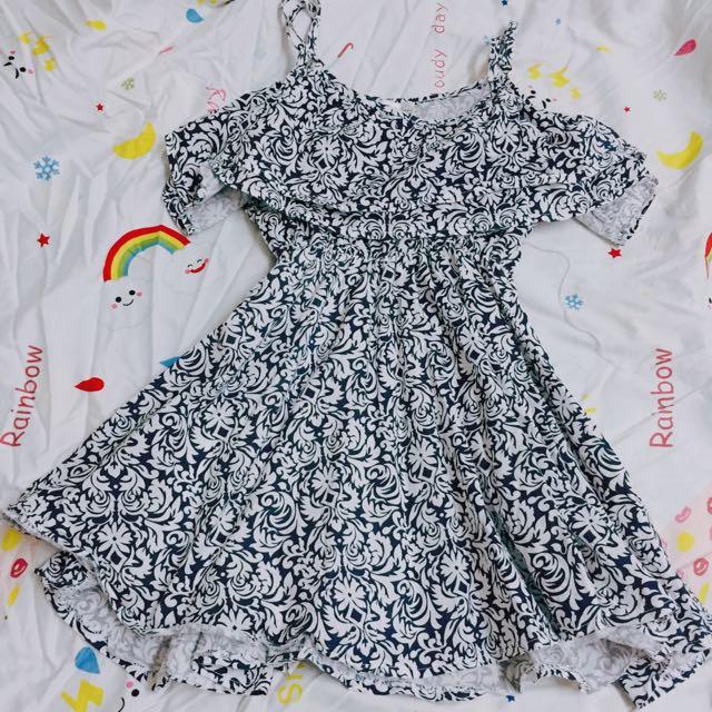 荷葉邊 復古 圖騰 連身洋裝