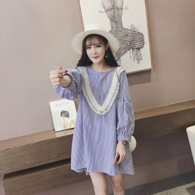韓版小清新時尚木耳邊條紋寬鬆休閒長袖連衣裙小洋裝AA0417