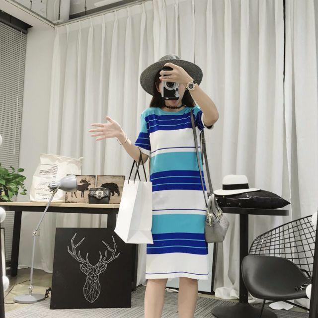 時尚彩色拼接條紋開叉圓領針織連衣裙長裙AA0420