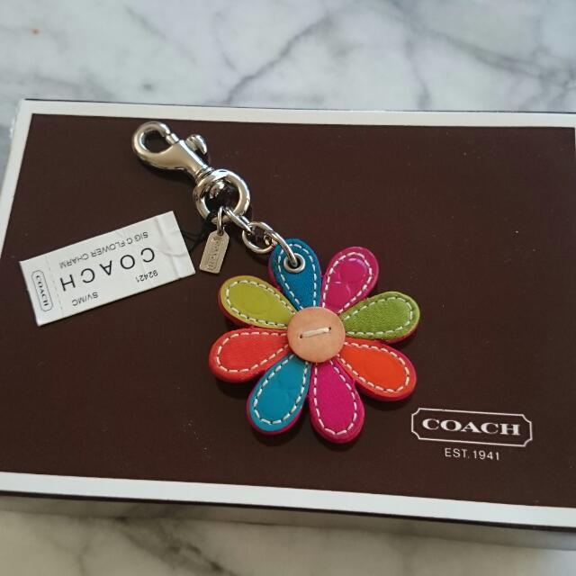 Authentic Coach Leather Flower Charm