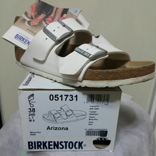 Birkenstock 勃肯 38號 白色 兩條 涼鞋