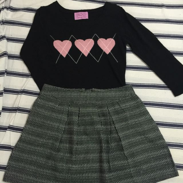 Black Knitted Top With Heart Design On The Front