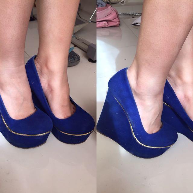 Blue Wedge Heels
