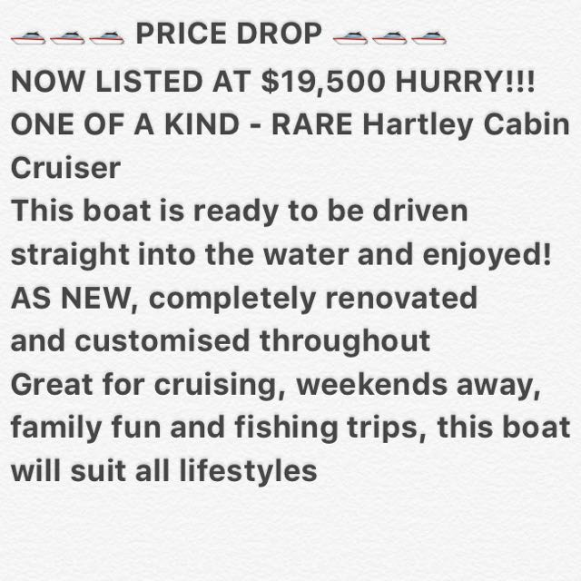 Hartley Cabin Cruiser 22ft Fishing Boat Overnight Weekend Away