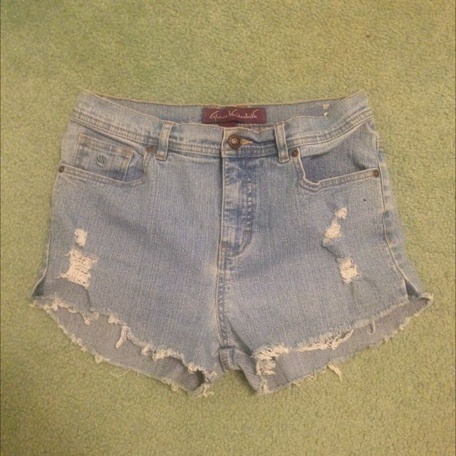 High-waisted Distressed Denim Shorts