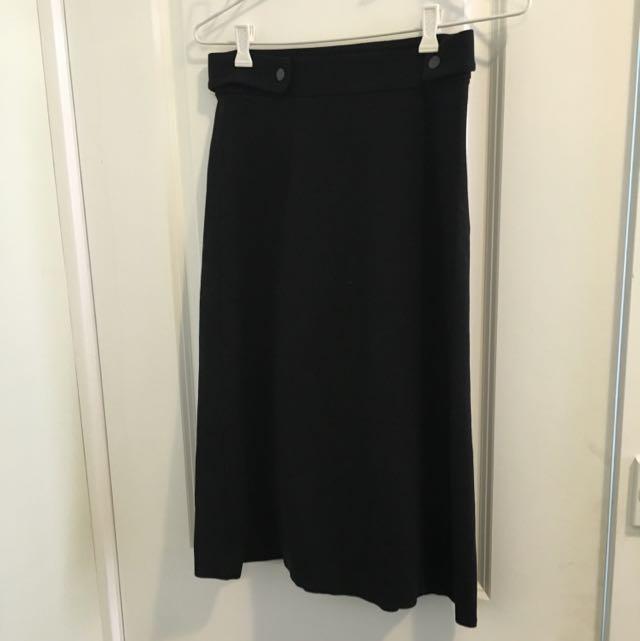 Jack+Jack Black High Waisted Midi Skirt
