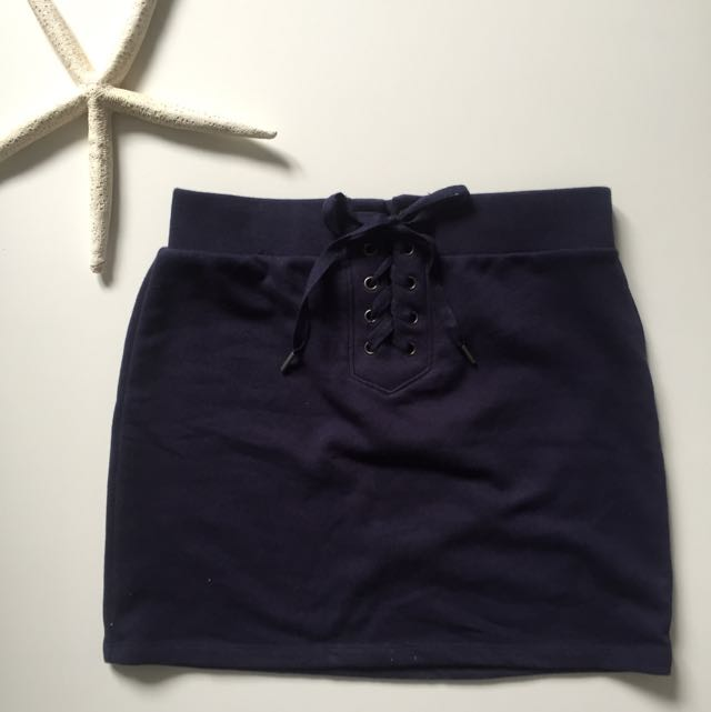 Lace Up Navy Mini Skirt Grover 21