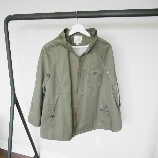 Line & Dot Poncho Jacket (Size: S)