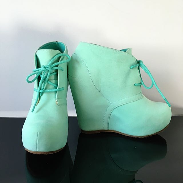 Mint Green Wedge Ankle Boots
