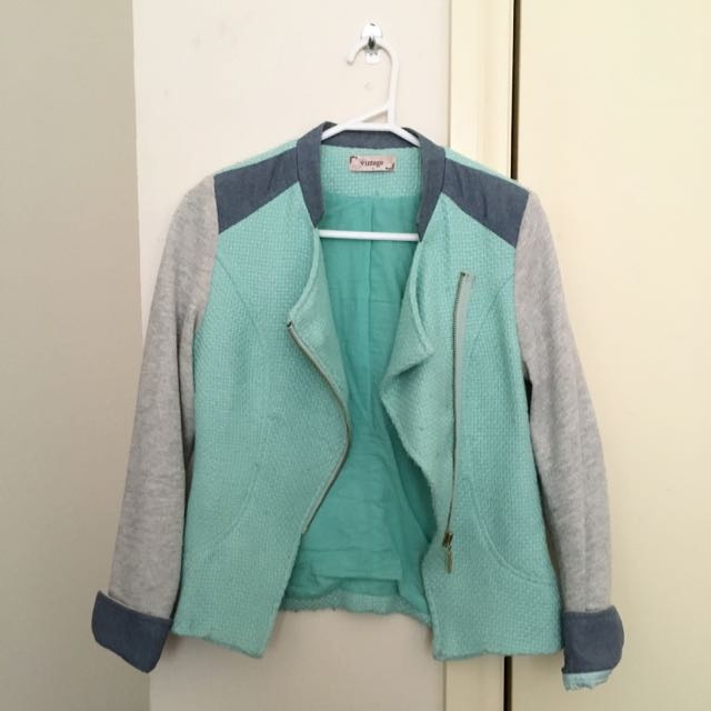 Mint Green/Grey blazer