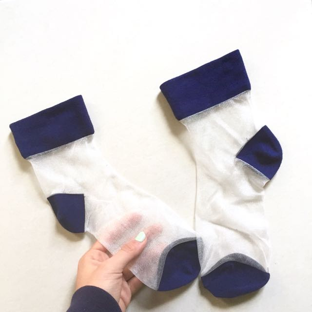 Navy Mesh Transparent Socks