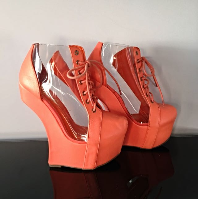 Peach Transparent Panelled Backless Heels