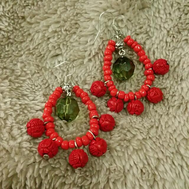 Red Seed Bead and Cinnabar Statement earrings. One of a kind. Handmade in Brisbane. Express your inner tribal Goddess!