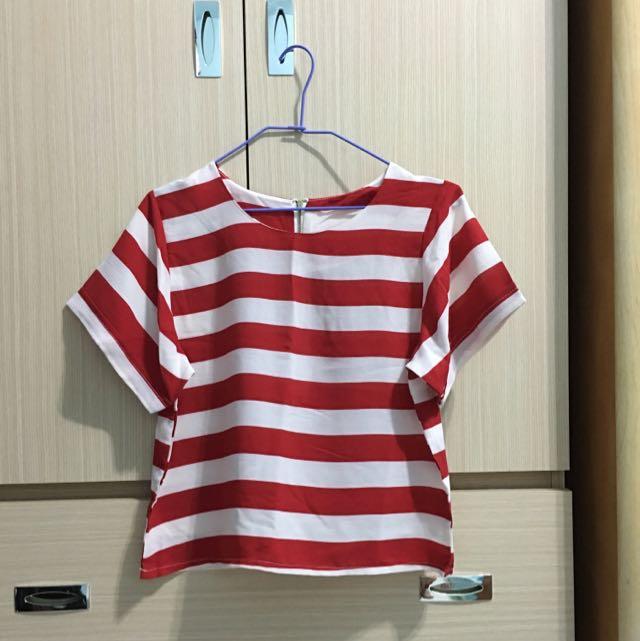 Starmimi 雪紡條紋短版上衣