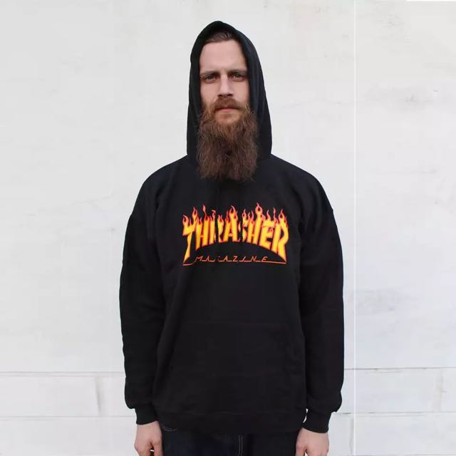 Thrasher Logo 刷毛長袖上衣 黑 經典火焰 滑板潮流
