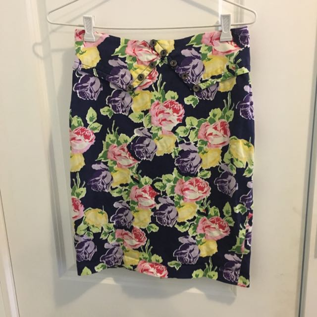 Tokito Floral Pencil Skirt sz8
