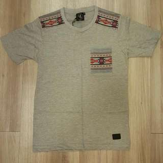 Grey T-shirt With Tribal Motifs