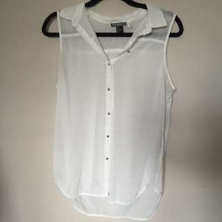 White Button Down Tank