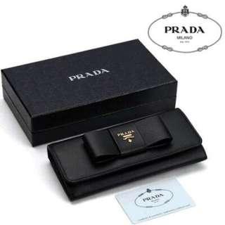 PRADA  1M1132 黑色 蝴蝶結 長夾 💓 9.5成新‼️ 超級美品❣