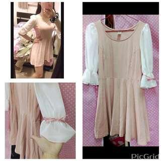 正韓雪紡拼接袖緞帶蝴蝶結粉紅洋裝連身裙