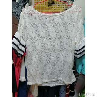 純白蕾絲拼接緞面荷葉袖透膚上衣