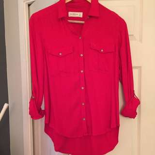 Red Loose Button Up