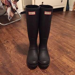 Matte Black Hunter  Boots Size 7