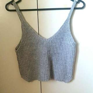 Grey Knitted Midriff Crop