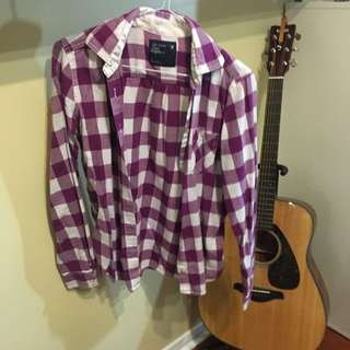 Purple AE Plaid Shirt