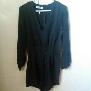 Black Long Sleeve Romper