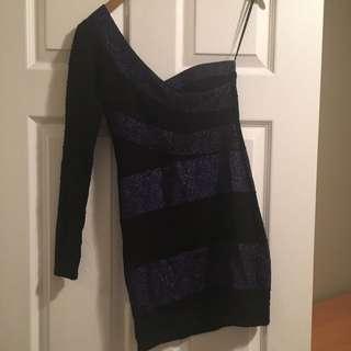 One Shoulder Blue And Black Bandage Dress SZ s