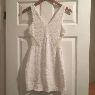 White Beaded BEBE Party Dress