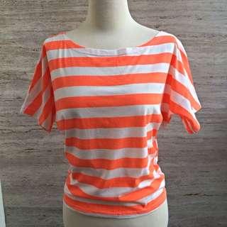 Atasan Striped Oranye Putih