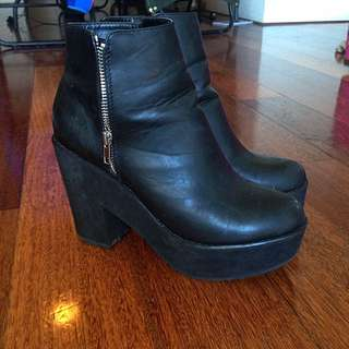 Chunky Black Ankle Boots