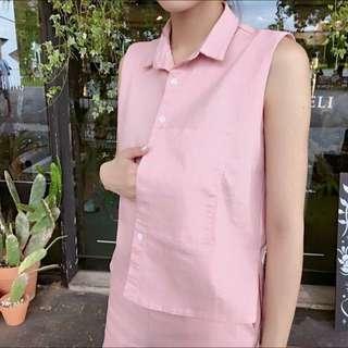粉紅色套裝背心+短褲