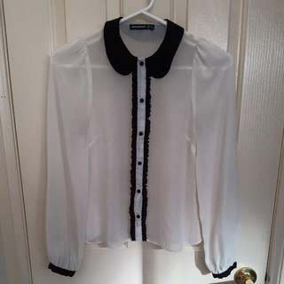 Black And White Peterpan Collar Blouse