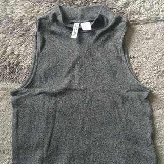 H&M Divided Crop Tee Grey Xs