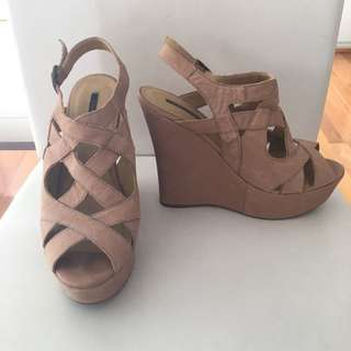 Tony Bianco Tan Leather Wedge Heels