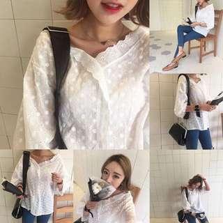 推薦款/韓國娃娃衫襯衫 實拍 韓國訂單寬鬆V領短袖娃娃衫襯衫女chic