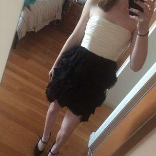 White Black Ruffle Dress