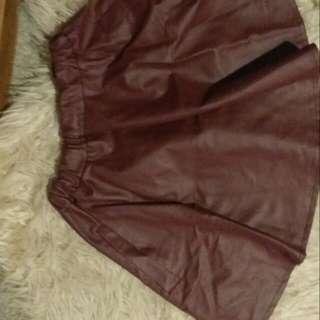 Size 6-8 maroon Leather Like Skirt
