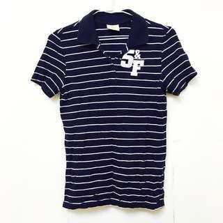 深藍條紋polo衫