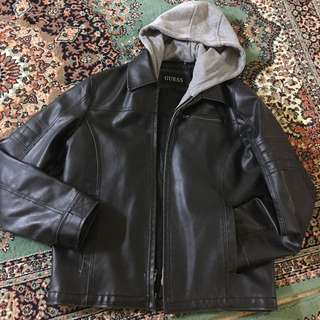Men's GUESS Leather jacket With Removable Hoodie