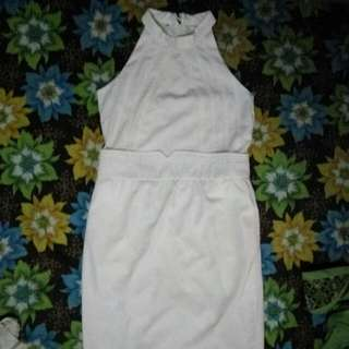 Halter Neck Dress White