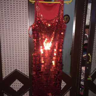 dress party merah all size glamour