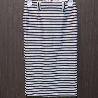 Black White Stripe Skirt