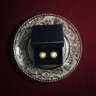 復古鍍金扣耳環-六角珍珠(小)